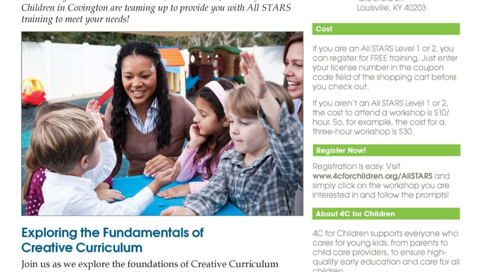 Flyer - 4-2018 - All STARS Creative Curriculum Workshop Louisville NK